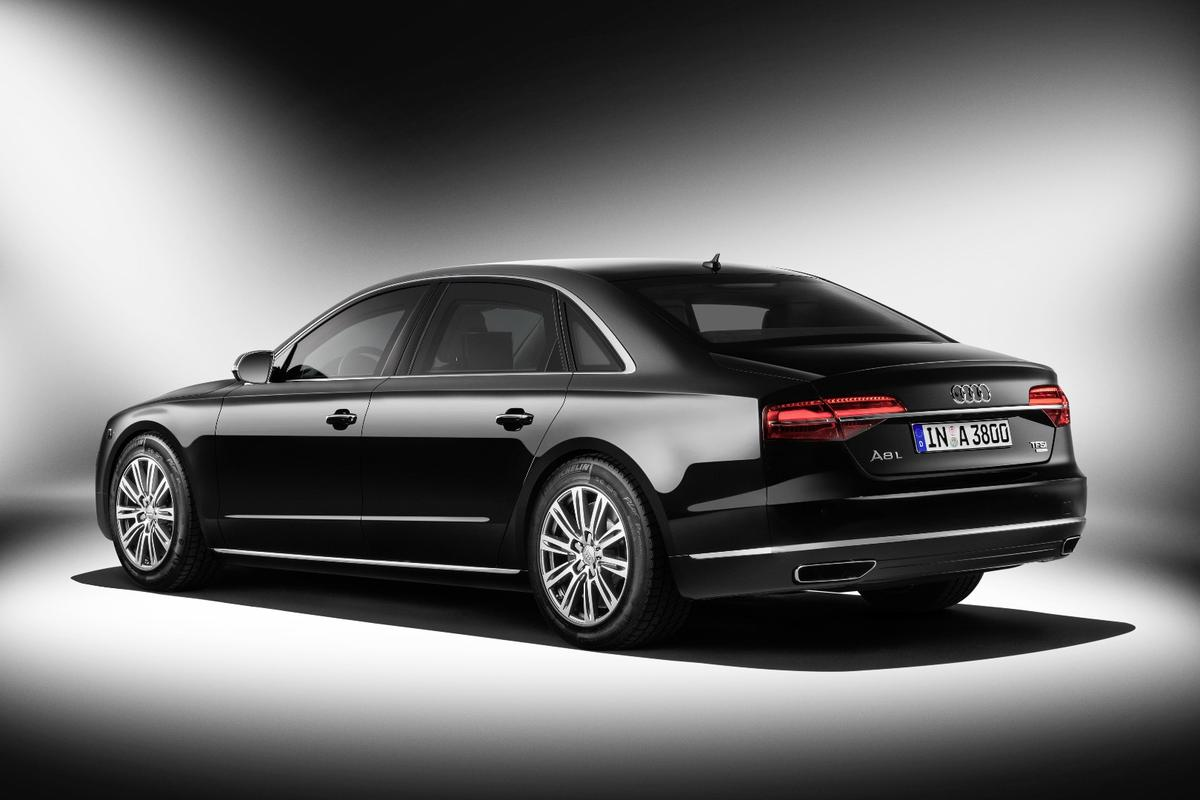Audi's A8 L Security is reinforced to survive assault rifle fire, hand grenades and other threats