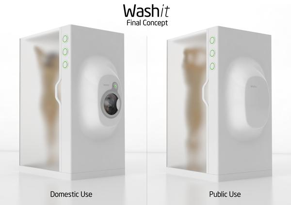 The final concept art for Washit - a combined shower and washing machine - shows both domestic and public use
