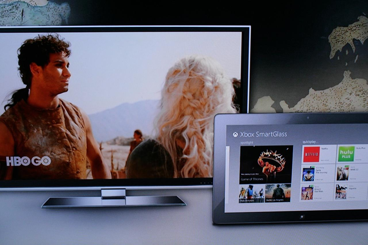 As a demonstration of how SmartGlass could deliver rich content via a second screen, Whitten demonstrated an episode of Game of Thrones streamed through an Xbox console, complemented by rich information on a tablet. Specifically, the location of the character Jon Snow was shown on an interactive map on the tablet's screen while action unfolded elsewhere on the big screen