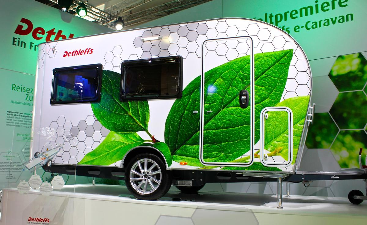 An electric-assist trailer concept, the Dethleffs E.Home Coco features an 80-kWh lithium battery and roof-mounted solar panels
