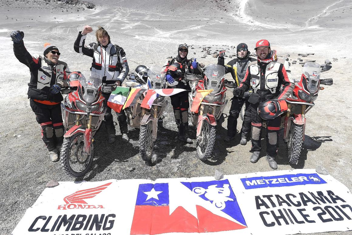 The Honda Africa Twin team celebrates setting a new record