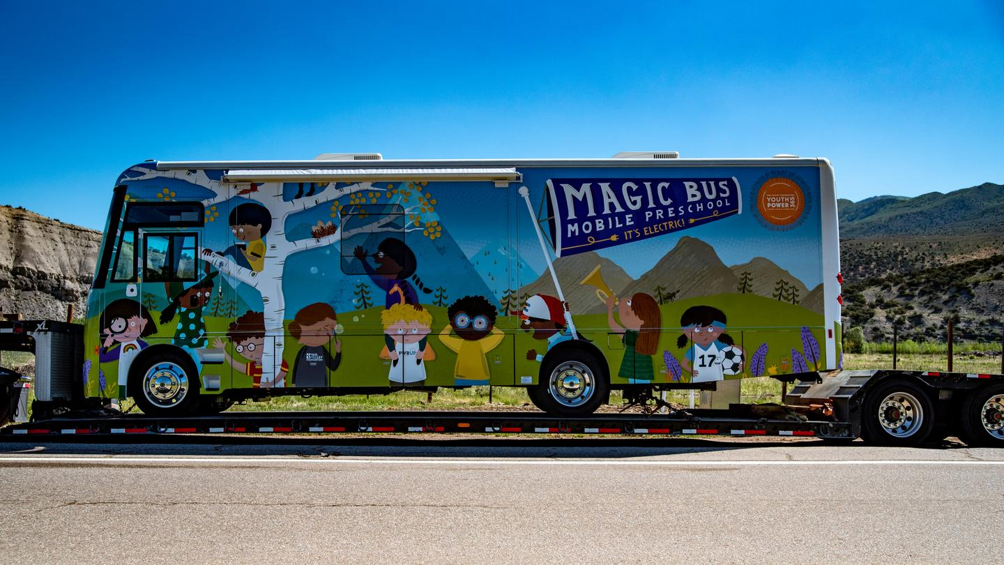 The YouthPower365 program takes delivery of the new all-electric Winnebago Magic Bus