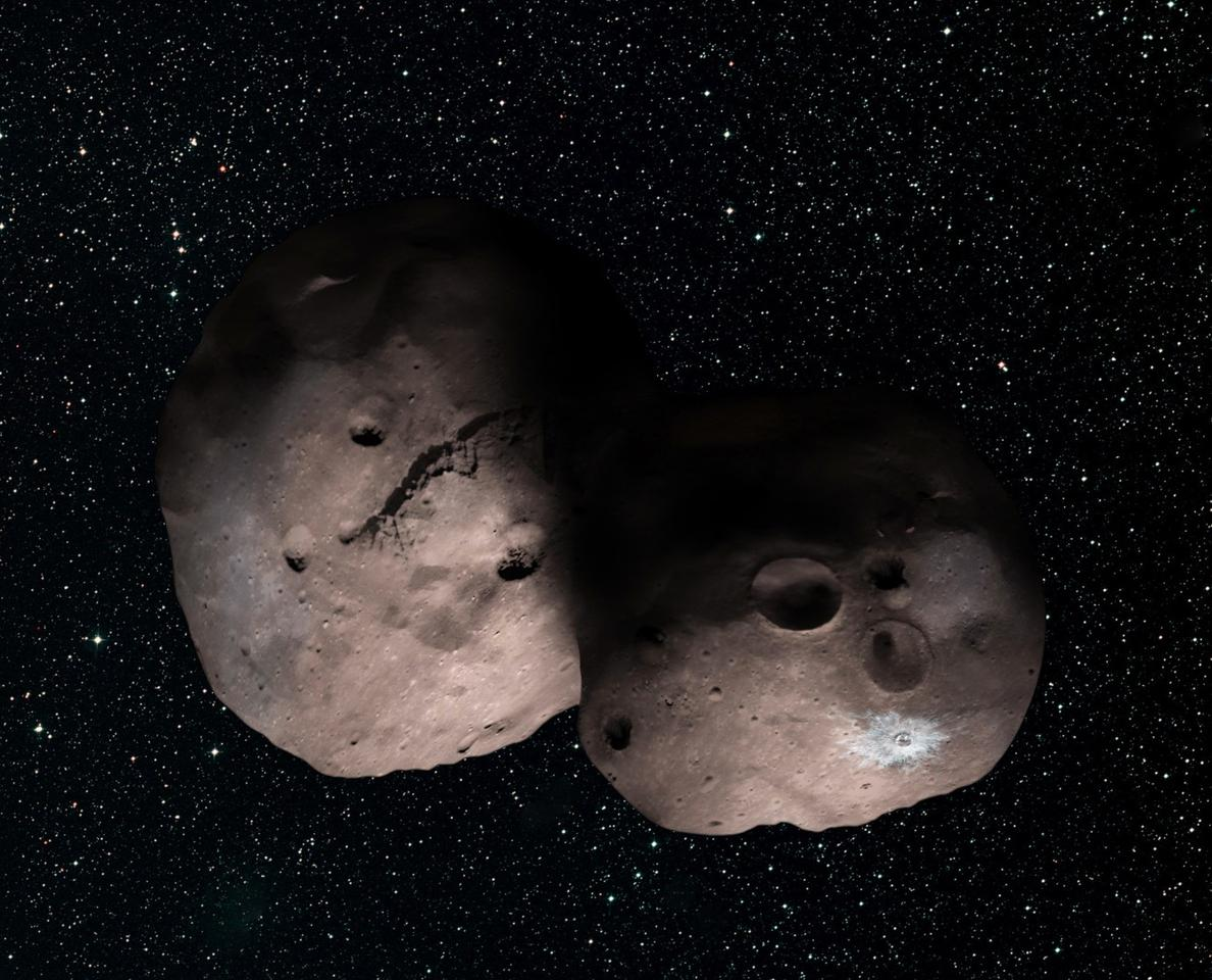 Artist's concept of the contact binary configuration of 2014 MU69