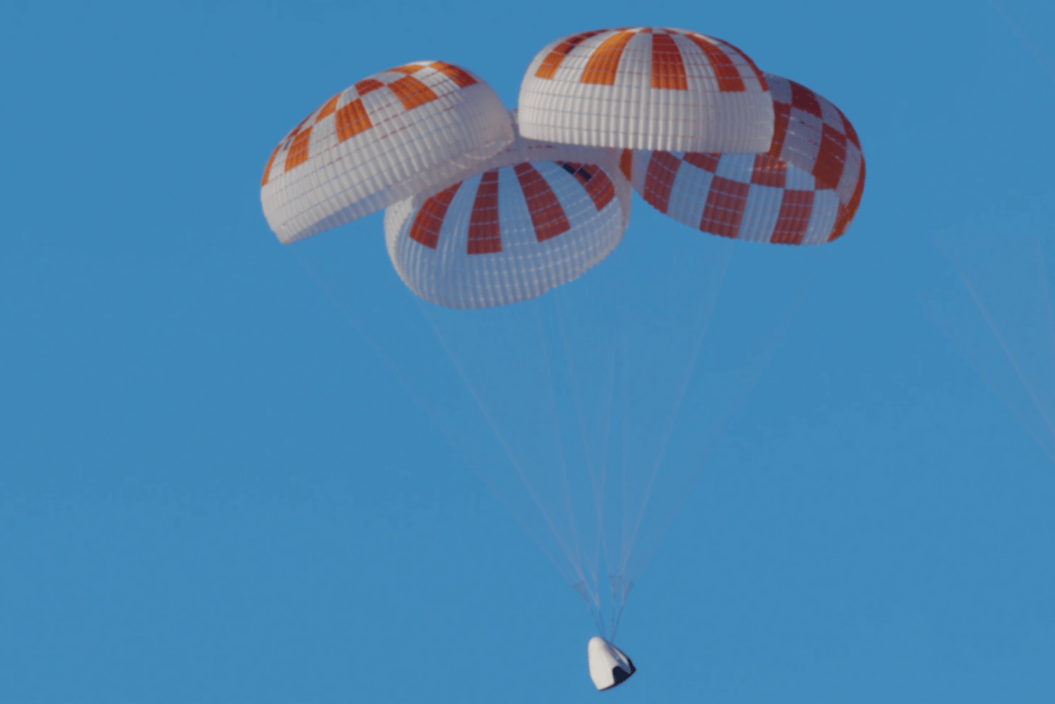 SpaceX's parachute system for the Crew Dragon spacecraft during earlier testing