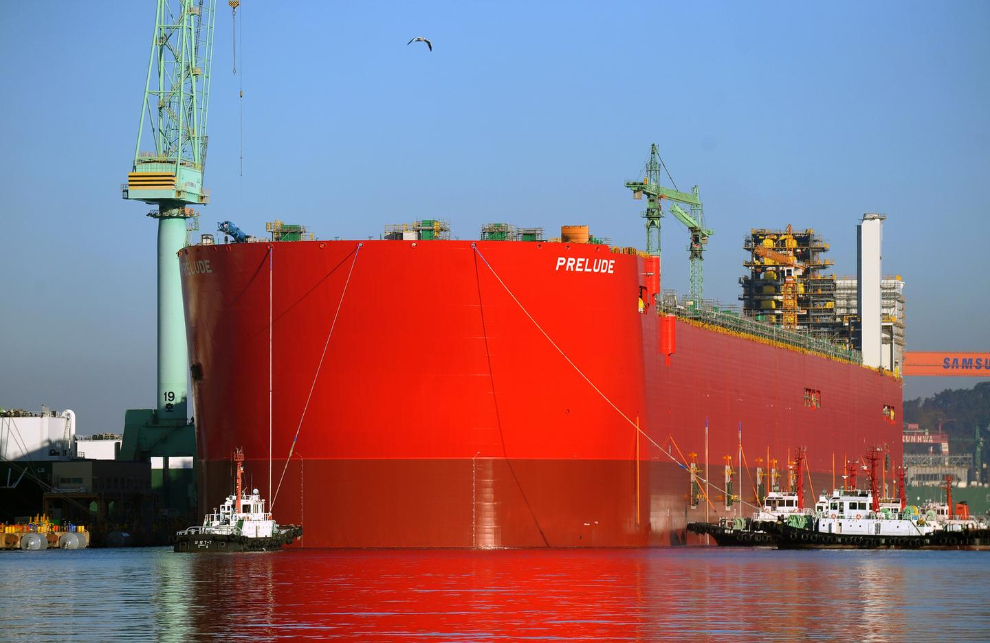 The 488-m-long hull of the Prelude FLNG is floated for the first time
