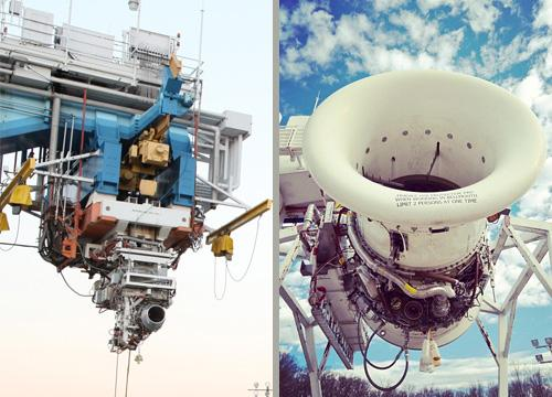 The HF120 (left on bottom of test rig) compared to GEnx engine