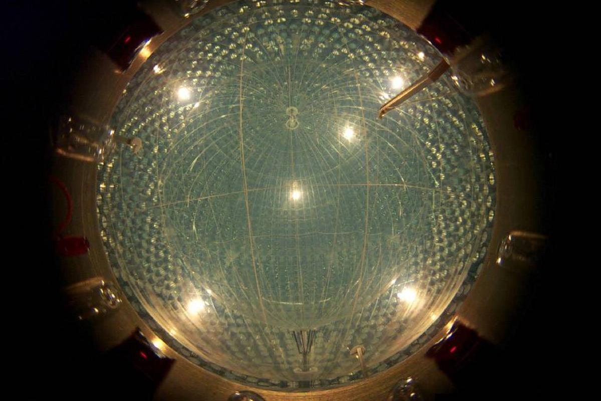 The giant nylon balloon of the Borexino neutrino detector in Italy measures around 30 ft (9 m) in diameter