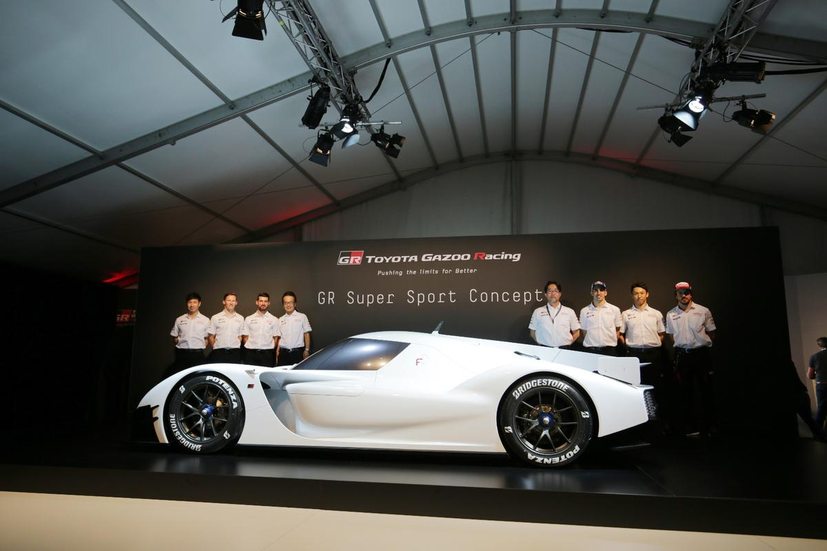 The Toyota Gazoo team lines up behind their ultra-sporty creation