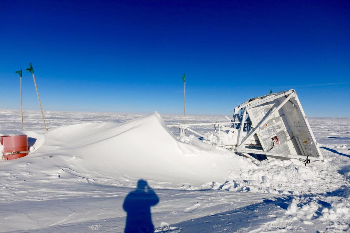The GRIPS telescope parachuted to the ground and sat on the ice for an entire year