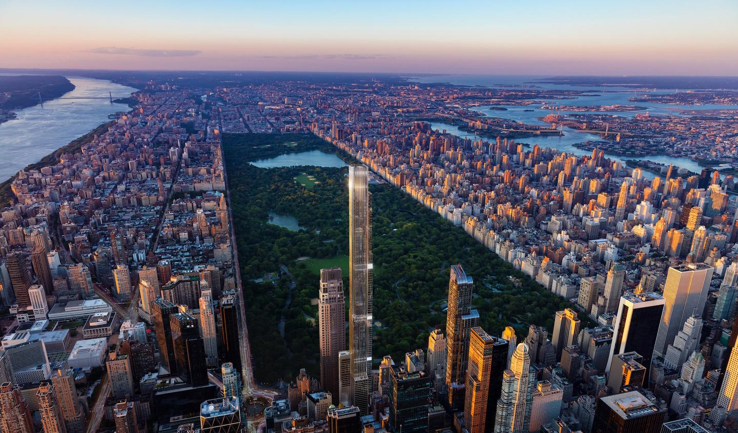 Central Park Tower overlooks New York City's Central Park and rises to a height of 472 m (1,550 ft)