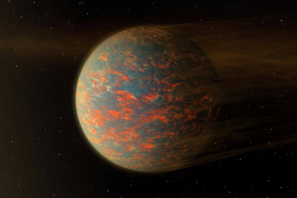 If 55 Cancri e is indeed a lava planet as the new study suggests, it will likely have dust streaming from its surface as radiation from the nearby star blows material away from the tortured body
