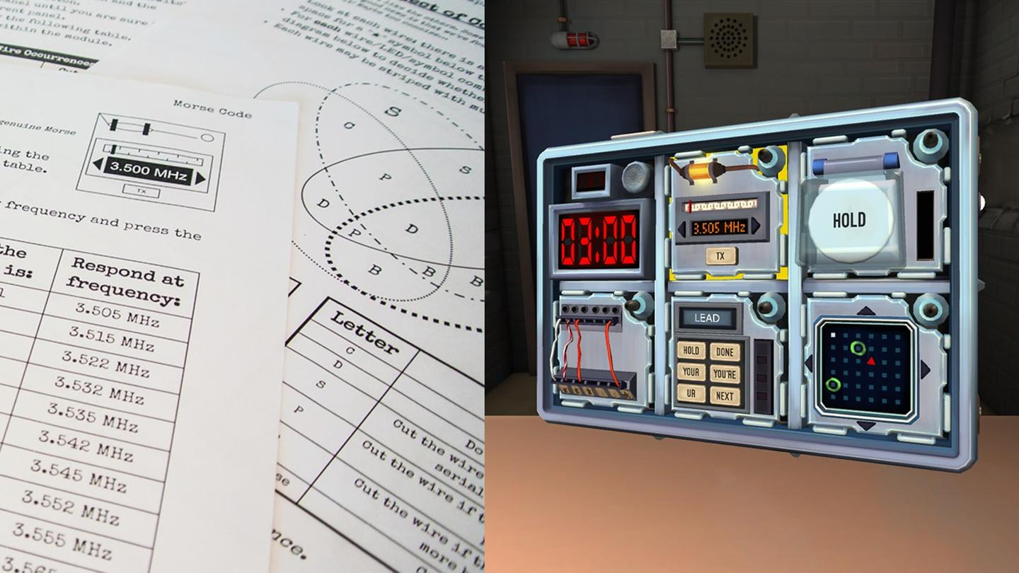 Keep Talking and Nobody Explodes: A local multiplayer game where the headset-wearer is the bomb diffuser and everyone else needs to talk them through it