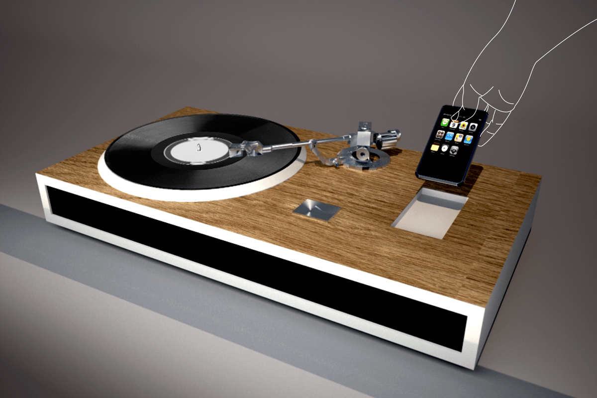 The Turntable iPhone Dock concept, showing iPhone being docked