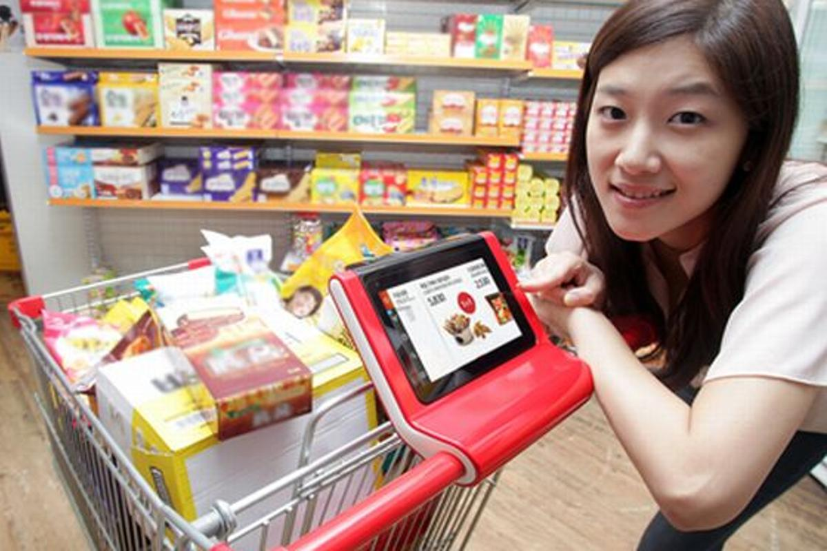 SK Telecom has launched a trial Smart Cart which is based on WiFi-enabled tablet PCs mounted to shopping carts