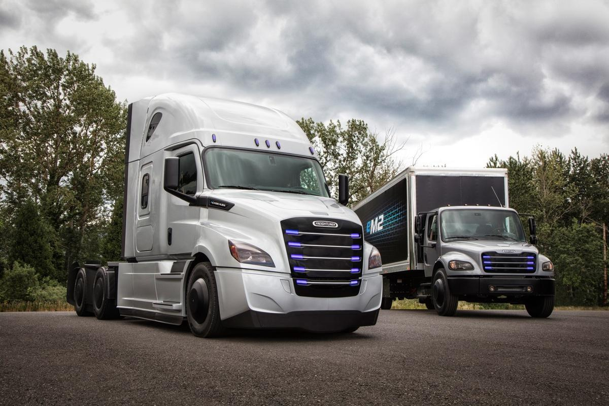 The new Freightliner eCascadia (left) and eM2 106 will enter North American test fleets later this year