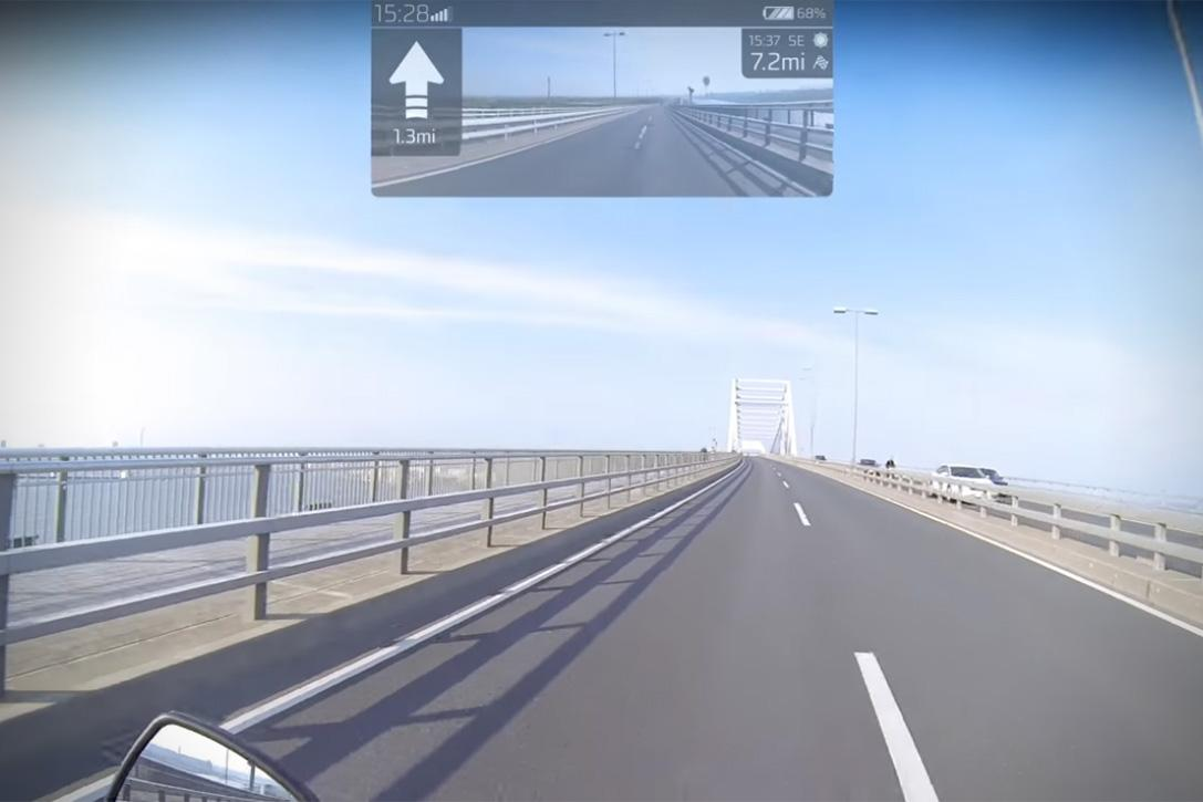 A mock-up of the kind of information the heads-up display will show