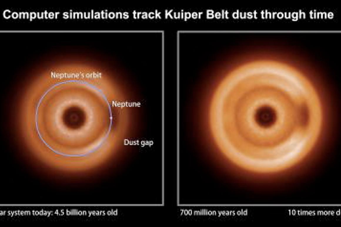 These computer Images represent infrared snapshots of Kuiper Belt dust as seen by a distant observer (Image: NASA/Goddard/Marc Kuchner and Christopher Stark)