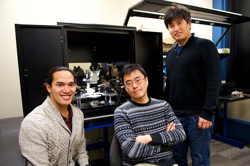 The MIT researchers behind the new neuromorphic chip, from left: Scott H. Tan, Jeehwan Kim, and Shinhyun Choi