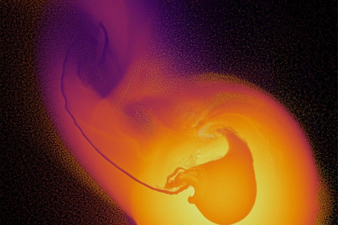 Astronomers used a powerful supercomputer to simulate over 50 collisions between a young Uranus and a protoplanet. This image represents a visualizationfrom one such scenario, which involved the simulation of over ten million particles