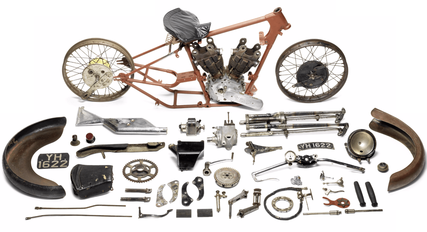 "One man's meat is another man's poison. Someone paid £259,100 ($400,039) for this 1927 Brough Superior SS100 Alpine Grand Sport Project which sold as Lot 201 at Bonhams Autumn Stafford Sale held on 18 October, 2015.Coming off an estimate of £120,000 to 160,000 ($185,000 -$245,000), the bidding just kept going into the 20 most expensive motorcycles ever territory. The irony is that a few months from now, it may once more be ""as new"""