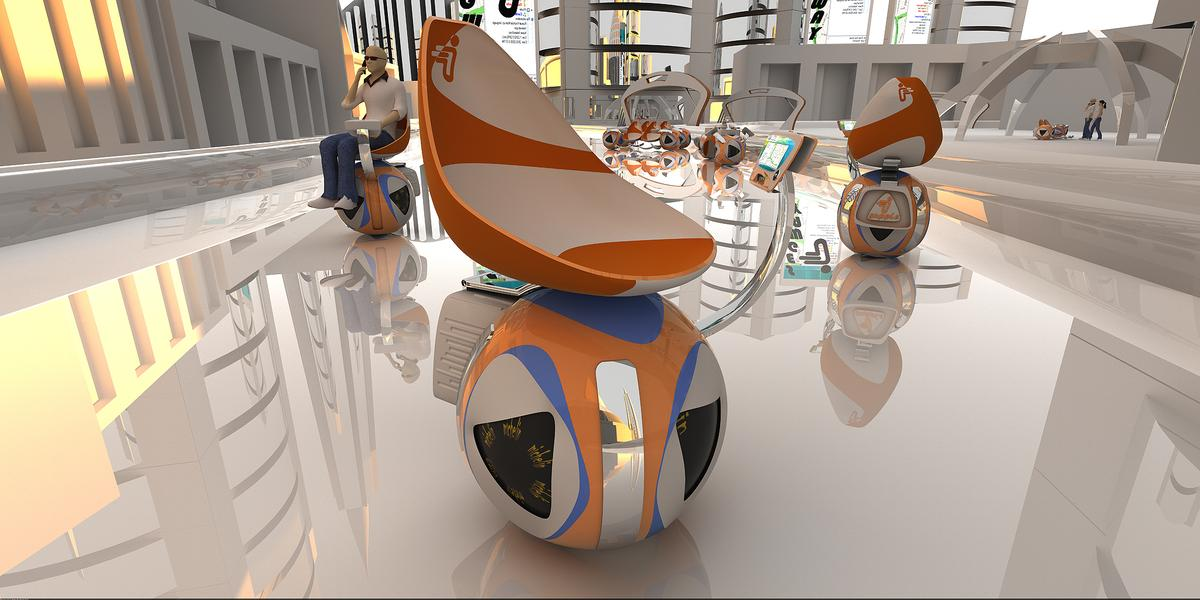 Mohamad Sadegh Samakoush Darounkolayi's entry into this year's Michelin Design Challenge is an automated, self-balancing personal transport chair balanced on an omnidirectional ball