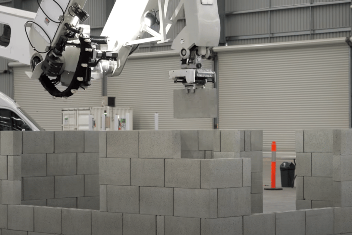 The Hadrian robot was created by Australian firm Fastbrick Robotics (FBR) and is named after the UK's Hadrian Wall