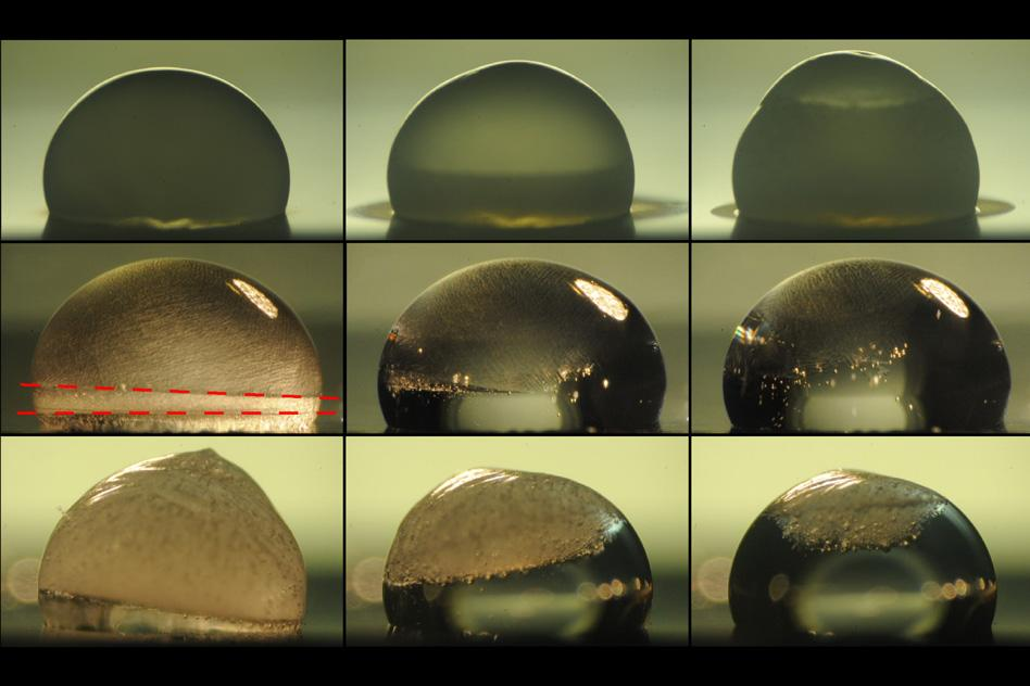 Images of a droplet on a surface show the process of freezing (top row). The next two rows show the droplet thawing out on a surface coated with the new layered material. In the middle row, the droplet is heated by the coating immediately upon freezing, and the dashed lines show where the freezing at top is just catching up with the thawing from below. The bottom row shows a slower thawing process