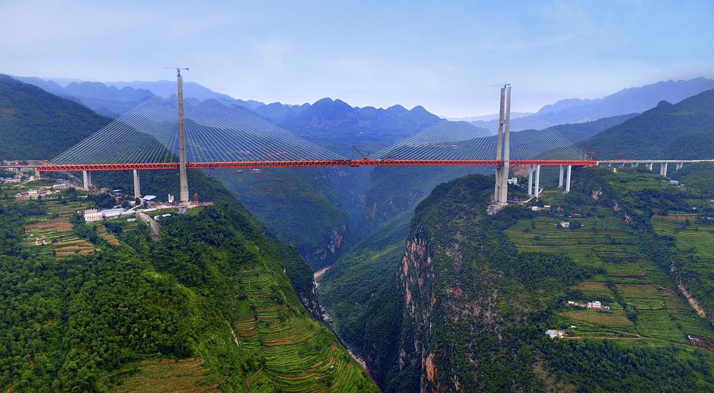 The Beipanjiang Bridge, due to open later this year in China, is now the world's highest bridge