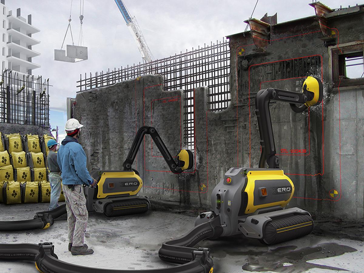 Artist's concept of ERO the demolition robot in action
