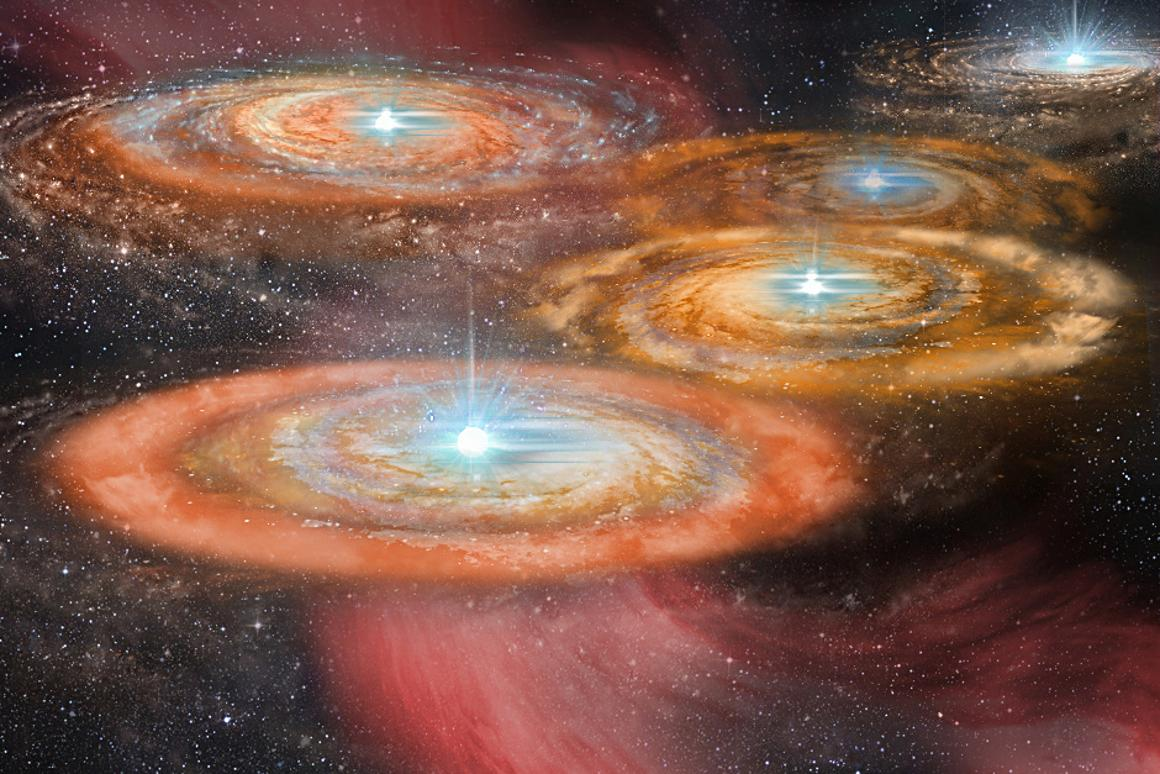 An artist's impression of some of the first stars in the early Universe (Image: Shantanu Basu, University of Western Ontario)