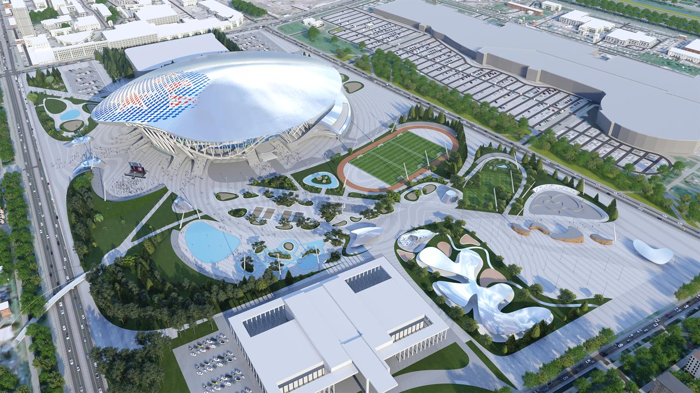 The CKA Arena and Park will involve extensive re-landscaping of the area surrounding the arena