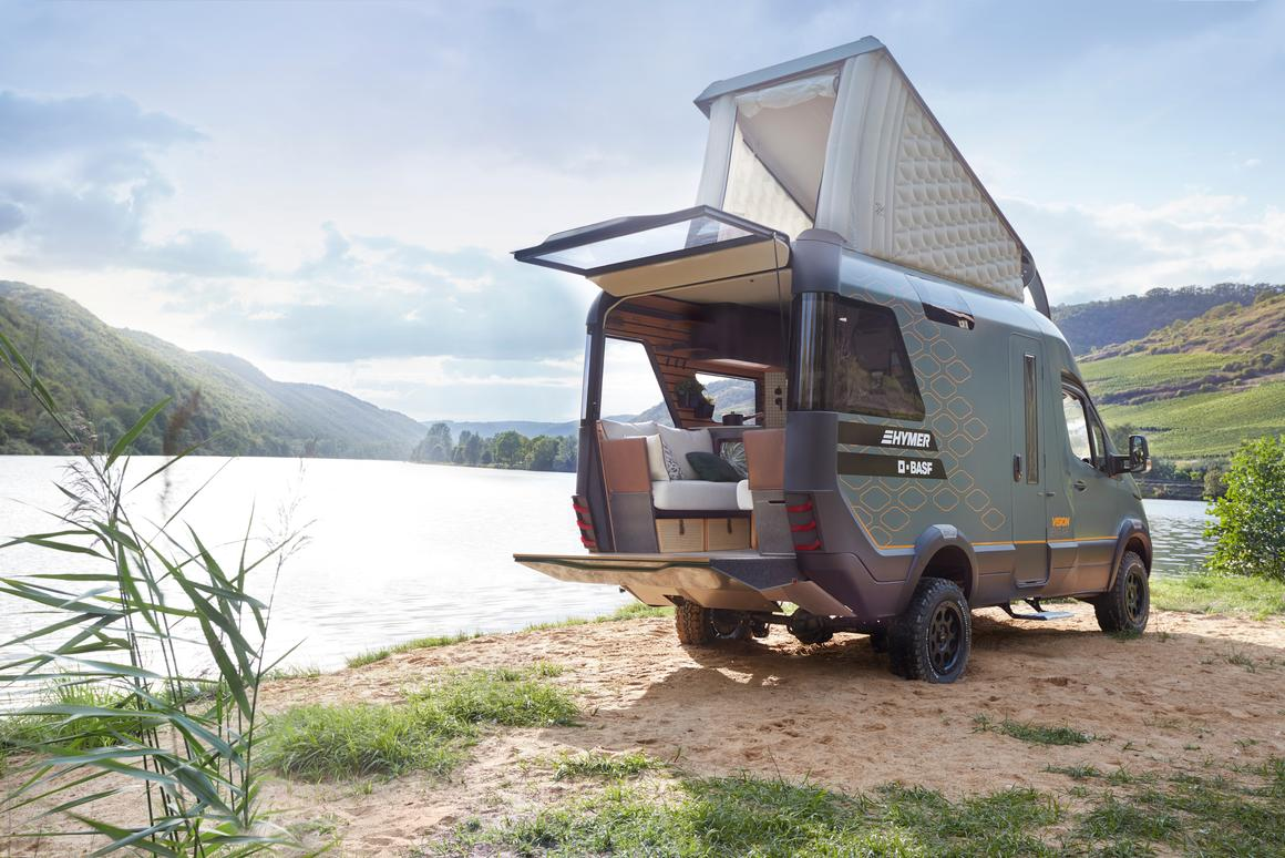 A cutting edge camper van concept, the Hymer VisionVenture is loaded with desirable features, including a rear deck