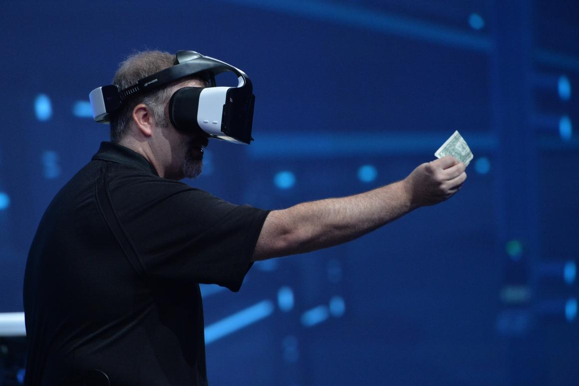 Intel's Craig Raymond demonstrating the Project Alloy virtual reality headset