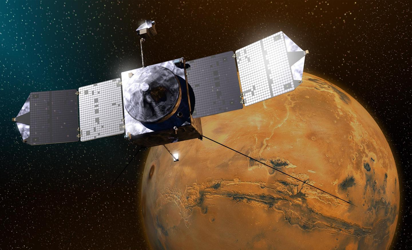 Artist's concept of MAVEN in Mars orbit (Image: NASA/GSFC)