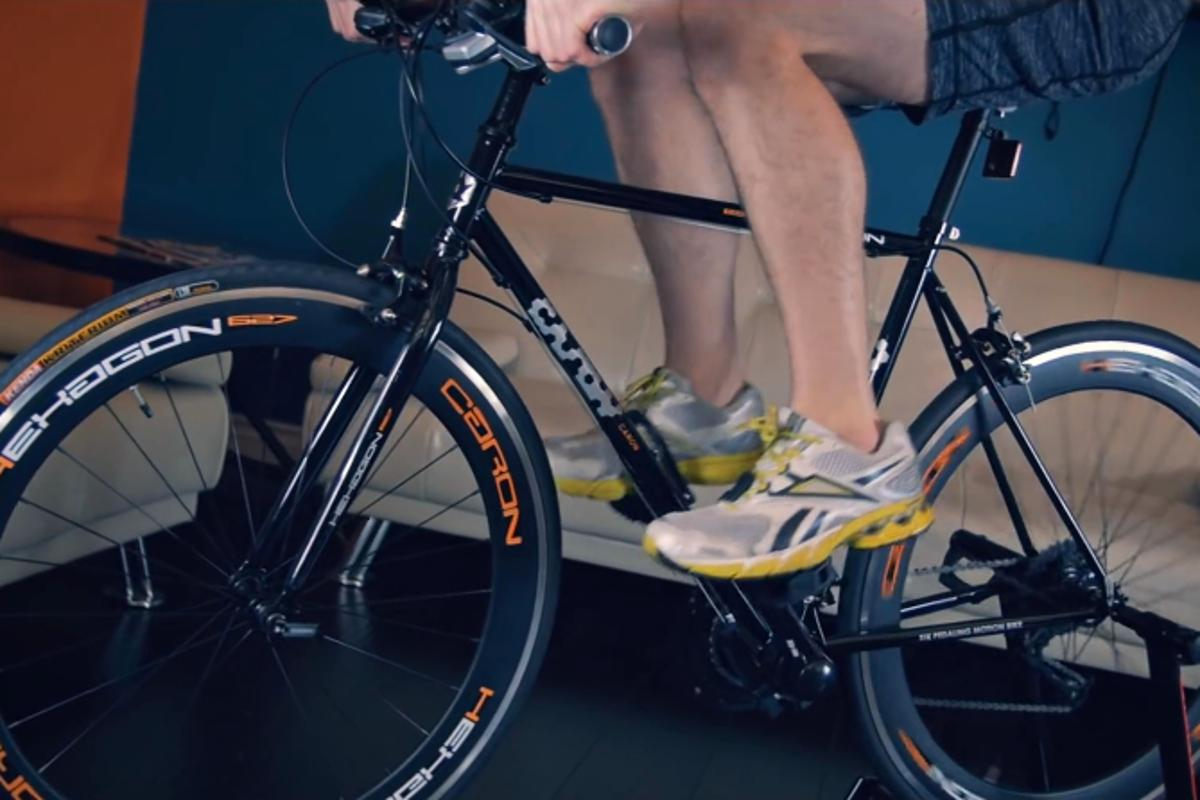 One of the Caron's pedaling modes, in which both feet go in full revolutions, side-by-side