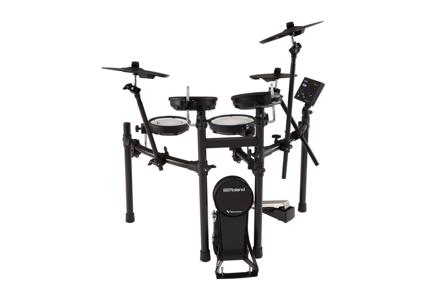 All of the V-Drums components are securely clamped to a custom stand