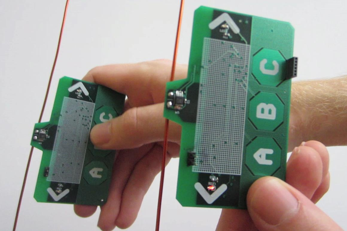 Two ambient backscatter test devices are able to communicate, despite having no batteries or power cords
