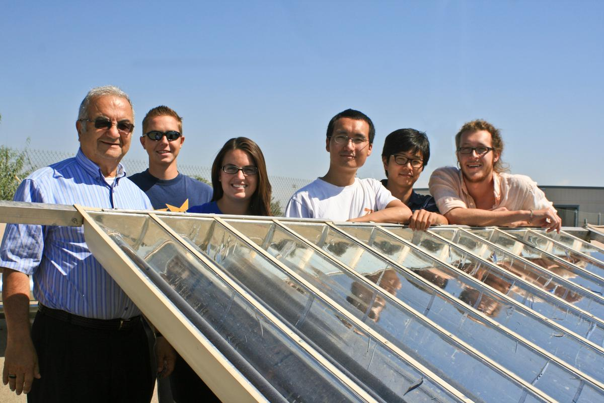 Professor Roland Winston and his student team, with an array of External Compound Parabolic Concentrators