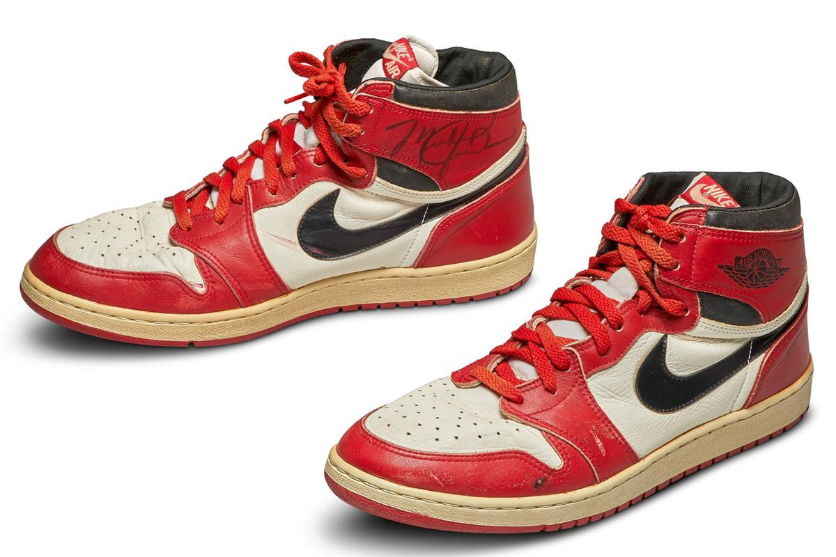 The1985 Air Jordan 1 Vintage Originals were produced for Jordan in the white, black and red of his Chicago Bulls, and were the colourway he wore most often on court. In 1984, Nike gave Jordan a signature line of shoes and clothes – a crucial, unprecedented move to entice Michael Jordan to sign with Nike. Produced between February to April 1985, Jordan wore this pair of Air Jordan 1s during an early, pivotal point of his career, catalysing an unprecedented sales spike and paving the way for Scottie Pippen, Penny Hardaway, Charles Barkley, Kobe Bryant, Kevin Durant and LeBron James to have their own signature shoes … and ultimately for the birth of sneaker culture.