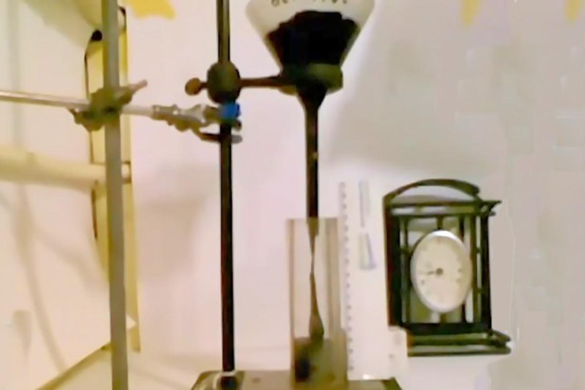 Pitch drop caught in the act of falling in the Trinity College experiment (Photo: Trinity College)