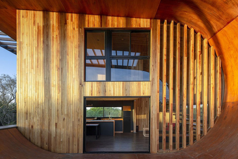 Skatehouse 2's exterior is made up of waterproof wood and wood veneer