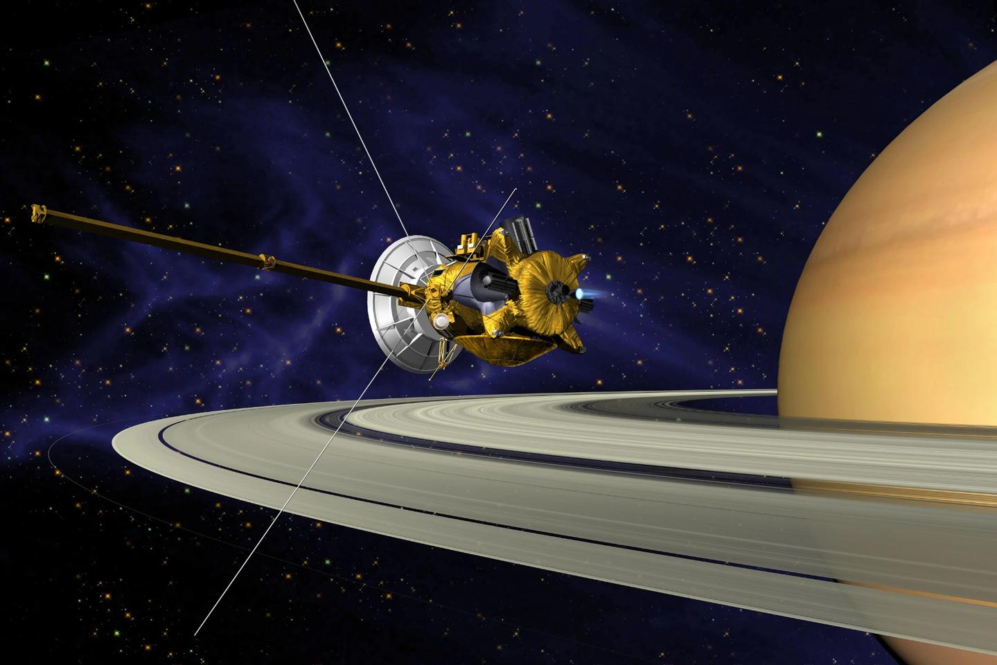Artist's concept of Cassini orbiting Saturn