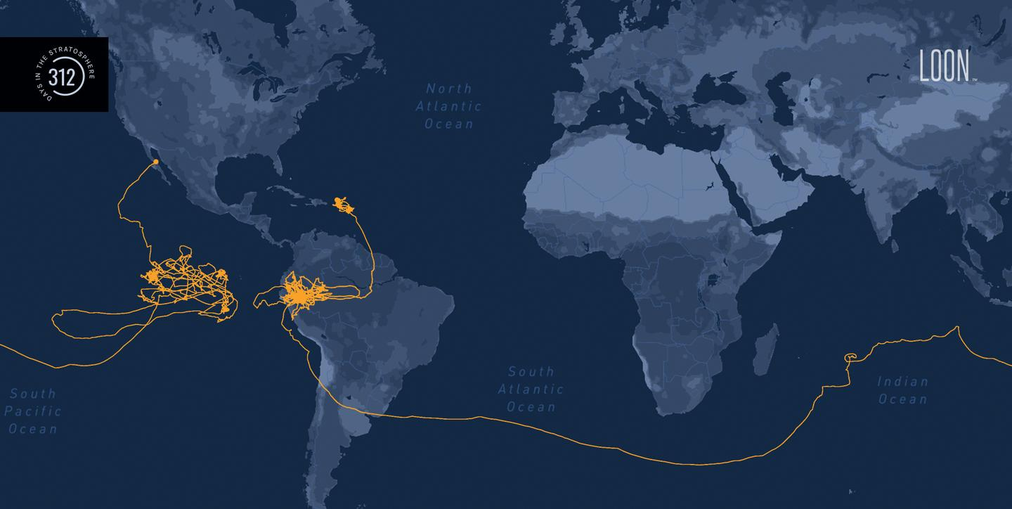 The 312-day flight path of the record-setting Loon balloon