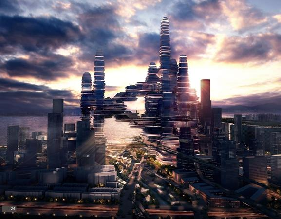Cloud Citizen is an conceptual interconnected complex of three towers