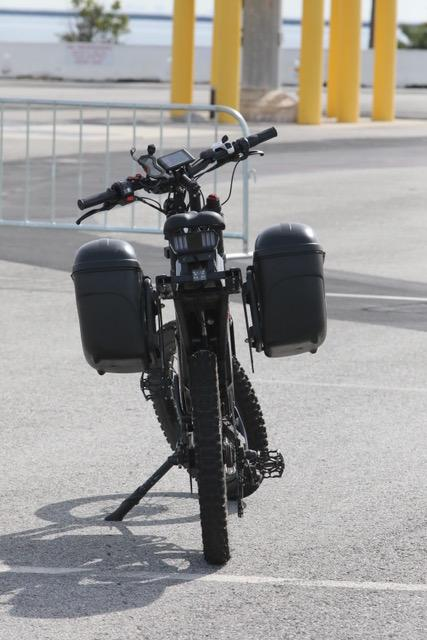 The Top Cop e-bike is equipped with special sirens, police lights and twin panniers