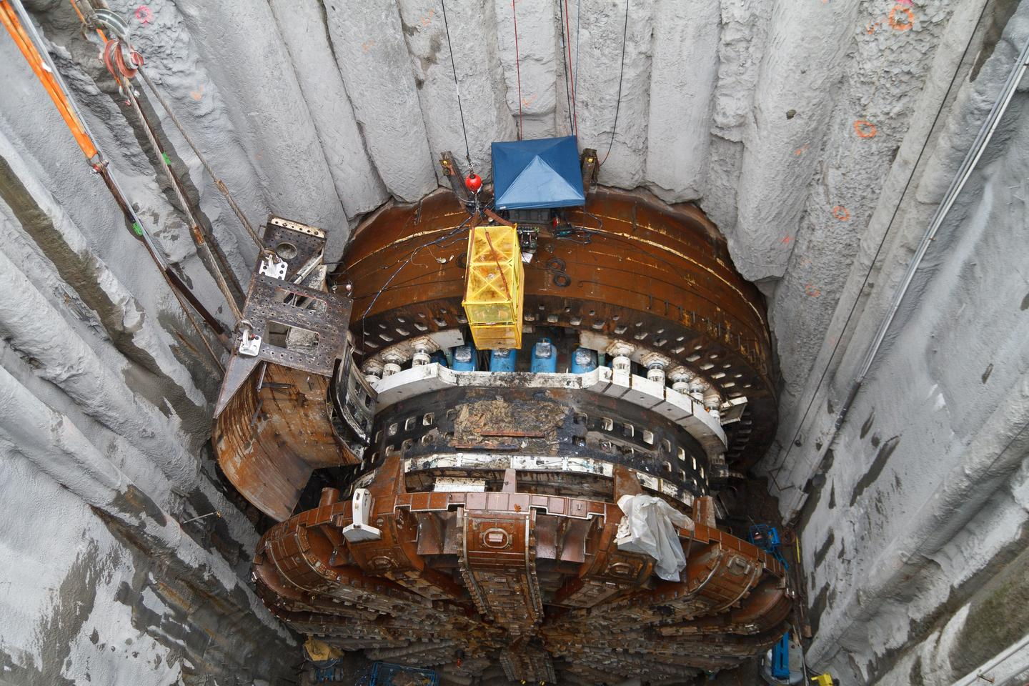Bertha's shield being dismantled