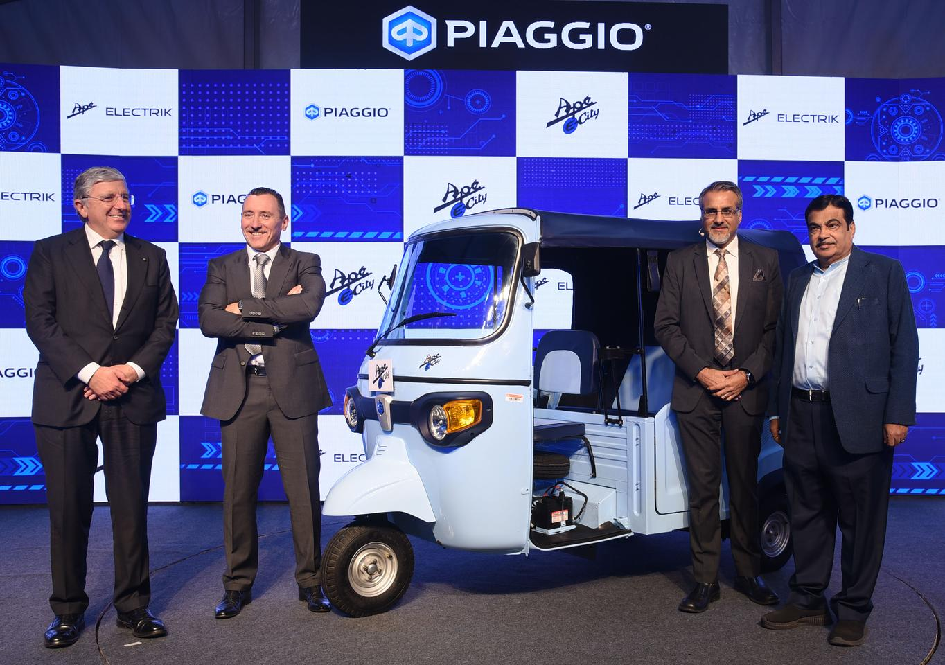 Piaggio describes the Ape E-City as its entry into the Indian electric commercial vehicle market