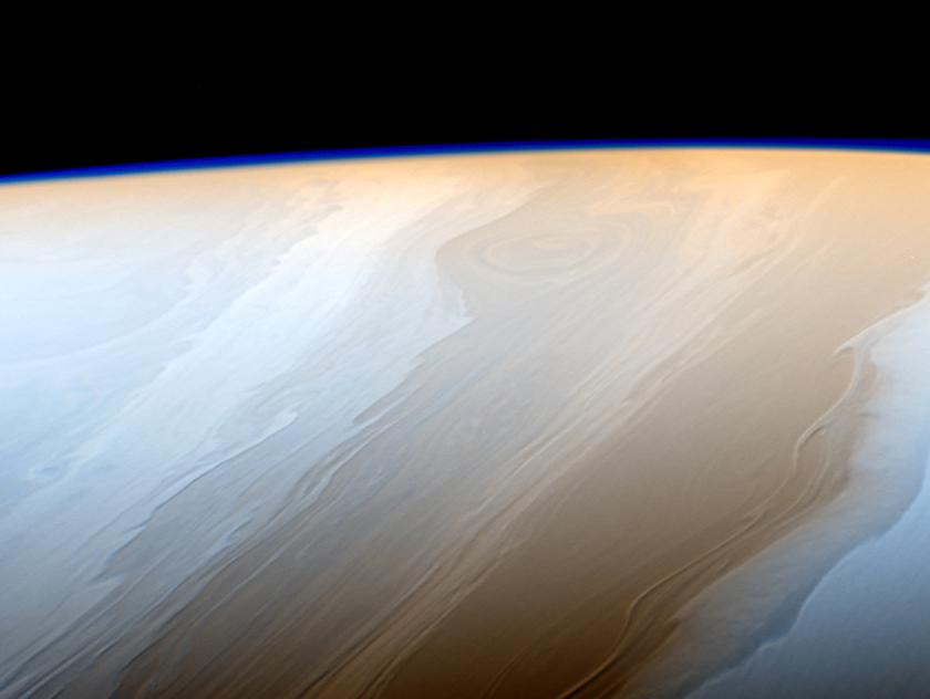 The stormy surface of Saturn shown in this false color image from Cassini