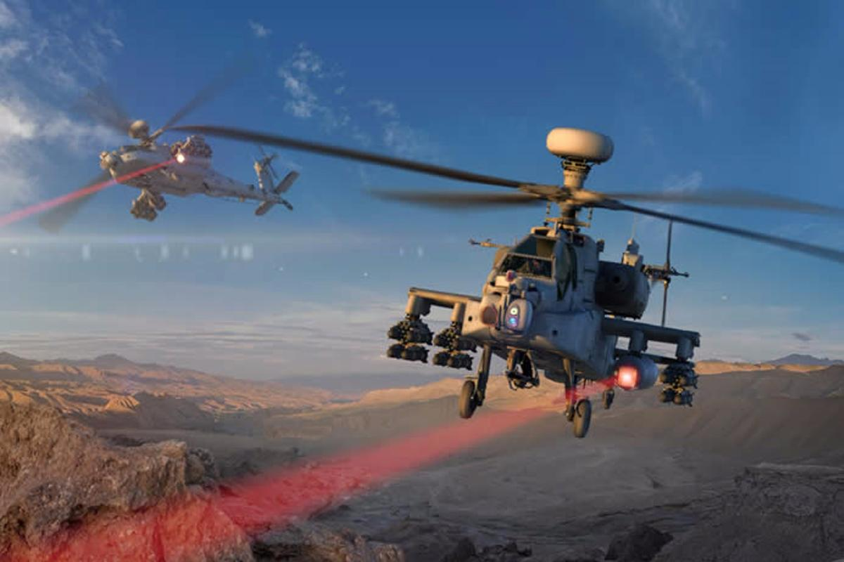 Raytheon mounted a high energy laser on an Apache helicopter similar to those in this image