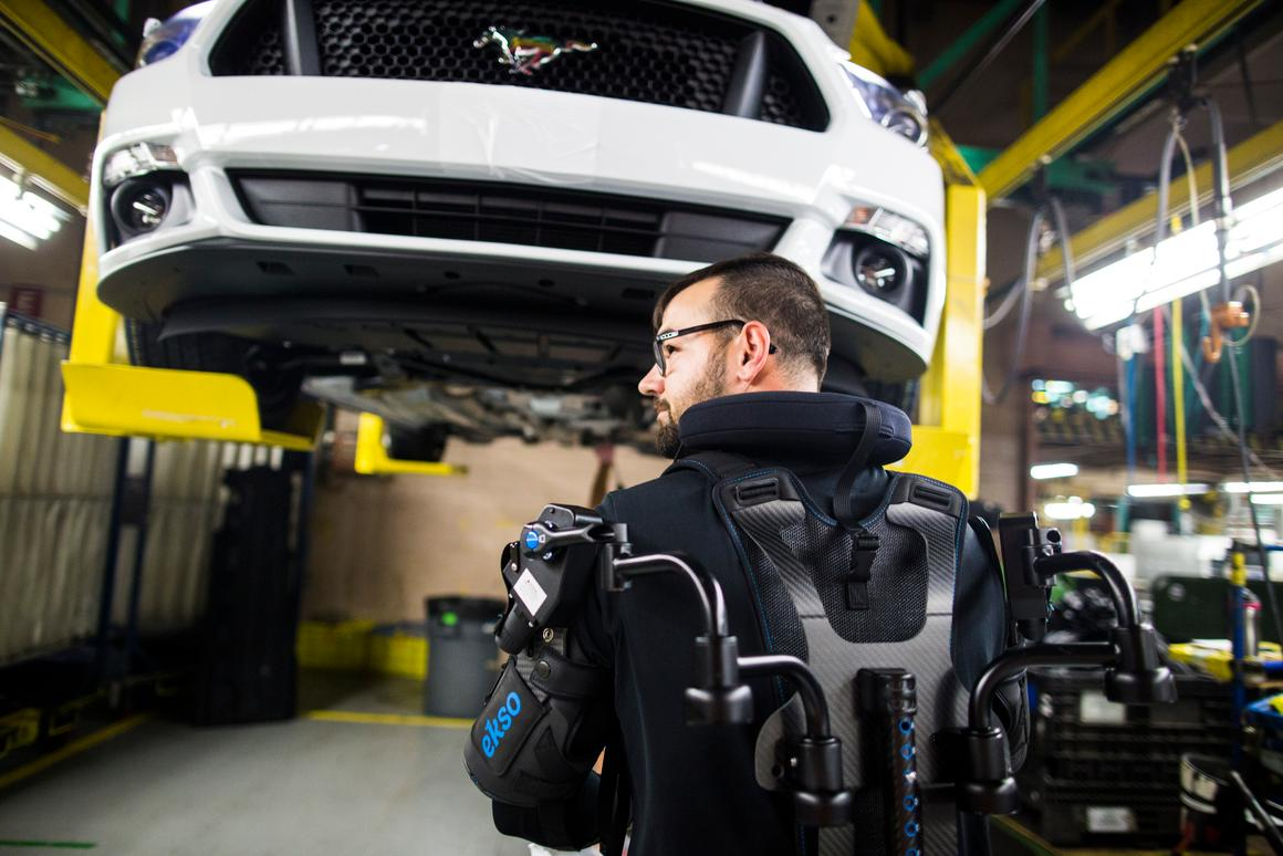 The EksoVest exoskeleton will be rolled out to 15 Fordplants worldwide